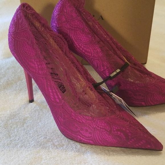 1b8b78385a2 Fab Zara women's Sz 6.5 magenta lace pumps NIB NWT
